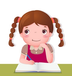 Cute girl thinking while working on her school vector