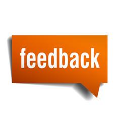 feedback orange speech bubble isolated on white vector image vector image