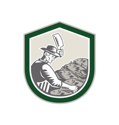 Fishmonger Chop Fish Shield Retro vector image vector image