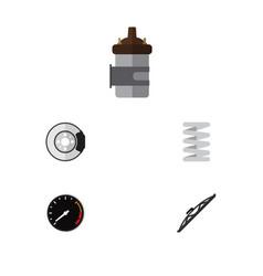 Flat icon auto set of windshield crankshaft vector