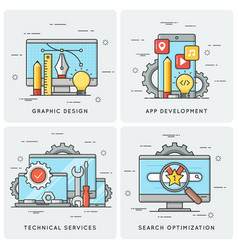 graphic design mobile app development technical vector image