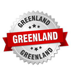 Greenland round silver badge with red ribbon vector