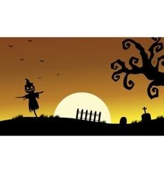 Halloweenn scarecrow silhouette vector image vector image