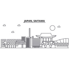 Japan saitama architecture line skyline vector