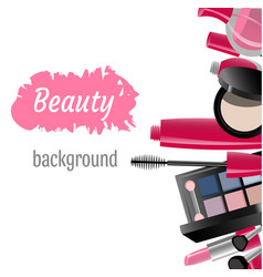 makeup template with collection of makeup vector image vector image