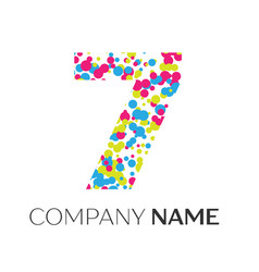 Number seven logo with blue yellow red particles vector