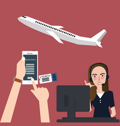 online booking plane via phone airline flights vector image vector image