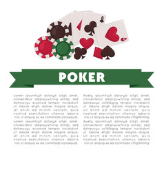 poker game promotional poster with colorful chips vector image vector image