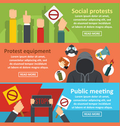 Protest meeting banner horizontal set flat style vector