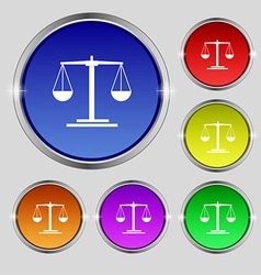 Scales icon sign round symbol on bright colourful vector
