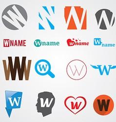 Set of alphabet symbols of letter W vector image vector image