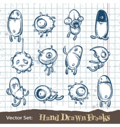 set of hand drawn freaks vector image vector image