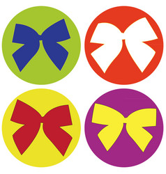 set of icons with colored bows vector image vector image