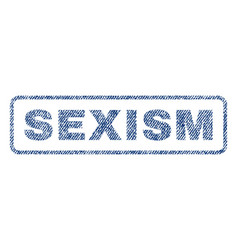 sexism textile stamp vector image