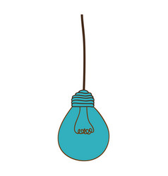 Silhouette of blue light bulb pendant vector