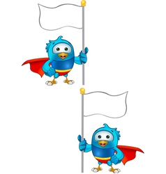 Super Blue Bird Holding Flag vector image vector image