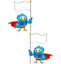 Super Blue Bird Holding Flag vector image vector image