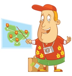 Tourist showing map vector