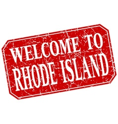 Welcome to rhode island red square grunge stamp vector