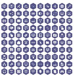 100 computer icons hexagon purple vector