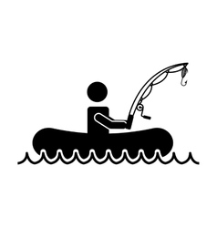 Man person hobby fishing icon vector