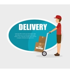Man courier delivery cardboard boxes vector