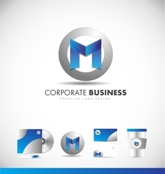 Alphabet letter m corporate logo vector