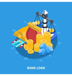 Bank loan isometric round composition vector