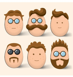 Egg characters face set vector