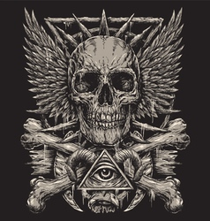 Heavy Metal inspired Skull Design vector image