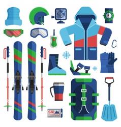 Mountain skiing equipment set vector