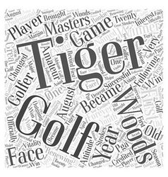 Tiger woods word cloud concept vector