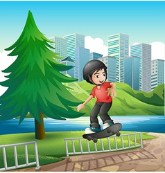 A boy skateboarding near the riverbank vector image
