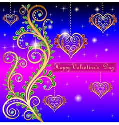 blue postcard on Valentines day with pendants hear vector image