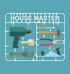 Plastic model kits construction tools house master vector