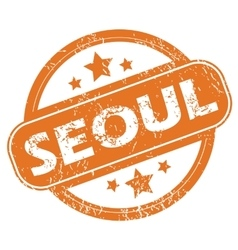 Seoul round stamp vector