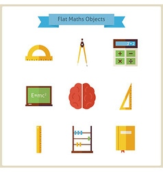 Flat school maths and physics objects set vector