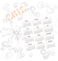Template for calendar 2012 with decorative element vector