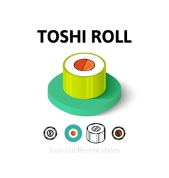 Toshi roll icon in different style vector