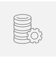 Server with gear line icon vector