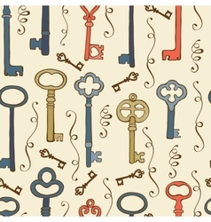 Seamless pattern with vintage keys vector image