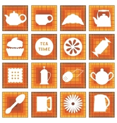 Set of 16 icons tea time in square vector