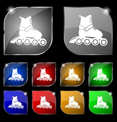 Roller skate icon sign set of ten colorful buttons vector