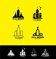Real estate logo icon set building vector