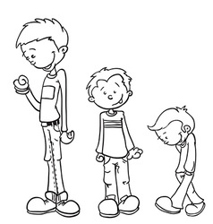Simple black and white little boy grow vector