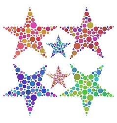 Stars made of colored circles vector
