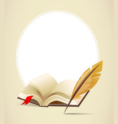 Background with old book and feather vector