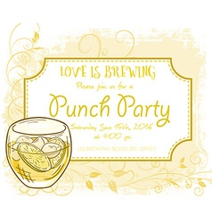 Hand drawn punch party invitation card vintage vector