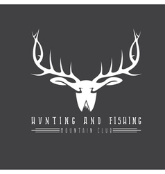 hunting and fishing mountain club emblem with duck vector image