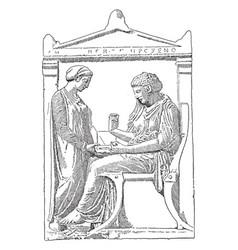 An athenian gravestone vintage vector